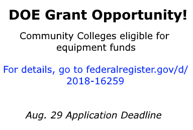 Department of Energy is offering a grant opportunity for equipment funds to eligible community colleges. Click on the slide for more details.