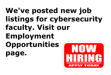 A new job listing for cybersecurity faculty has been posted on the CyberWatch West website as of November 30, 2017.